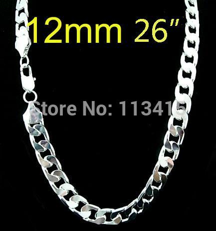 Salewholesale todo banhado a Prata moda 12mm 26 polegadas cadeia de calçada dos homens Colar para homens jóias, venda quente homens da moda jóias