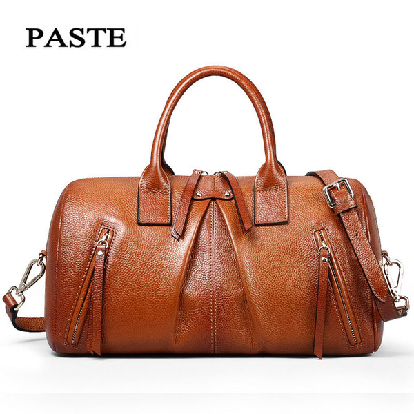 2018 New Women Shoulder Bags Genuine Leather Famous Pillow Handbag First Layer Cow Leather Ladies Casual Totes Brown Travel Bag