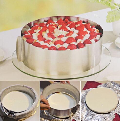 Anneau de gâteau de gâteau réglable cuisson moule de moule de moule plat outils outils Bakeware rétractable en acier inoxydable cercle mousse anneau de moule de gâteau KKA5028