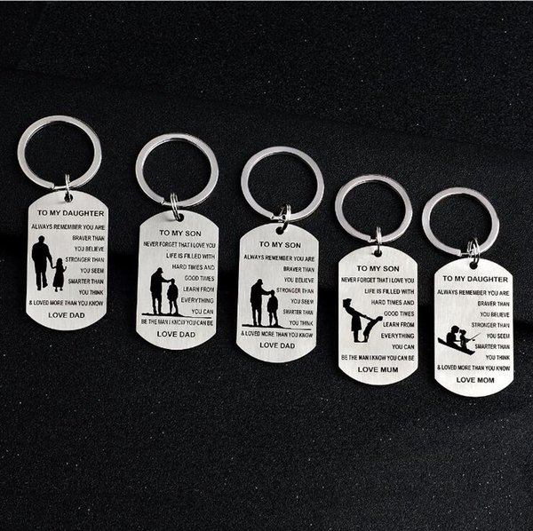 TO MY SON DAUGHTER LOVE DAD MOM Family Jewelry Charm Keychain Key Ring Pendant Stainless Steel Letter Military Gifts
