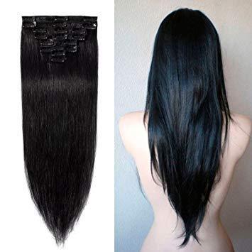 Clip di capelli vergini brasiliani dritti e setosi da 160 g in estensione dei capelli umani 7 pezzi nero naturale 8