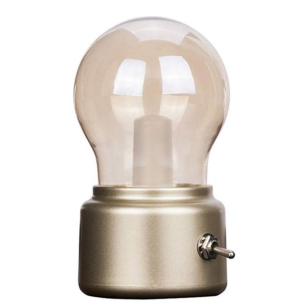 Vintage Bulb Lamp with Built-in Rechargeable Battery LED energy-saving Book lights Mini Bed Lamps for Bedroom Coffee House