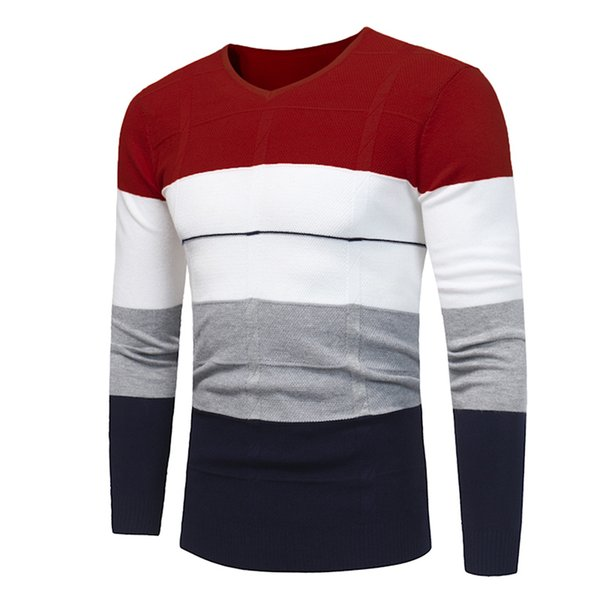 Drop Shipping Pullover Sweater Men Long Sleeve Top Clothes 2018 Fashion V-neck Stripe Jersey High Grade Casual Knitwear Navy