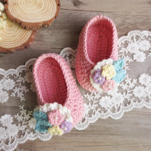 handmade flower design shoes baby girl lovely soft shoes 100% cotton colourful flower shoes winter warm shoe