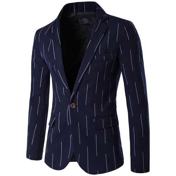 2018 New England Style Fashion Stripe Thin section Single Row One Button Men's Casual Suit
