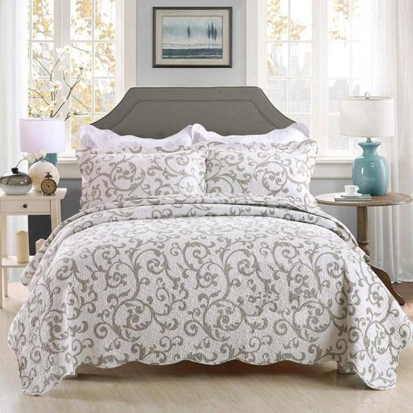 Pastorale Steppdecken Quilts weiß gedruckt Home Beddingset König amerikanischen Stil Bettdecke Patchwork Quilt hellblau Bedcover