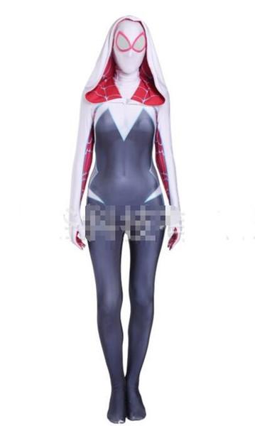 Gwen female spider cos women costume Spider-Gwen Lycra Spandex Full Body Zentai Catsuit