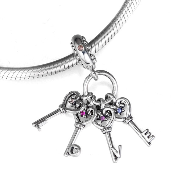 2018 Autumn 925 Sterling Silver Jewelry Keys Of Love Dangle Charm Beads Fits Bracelets Necklace For Women Jewelry Making