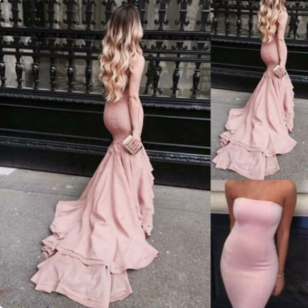 219K New Style Blush Pink Mermaid Prom Dresses Strapless Satin Bodycon Evening Gowns With Court Train Tight Long Special Occasions Dress