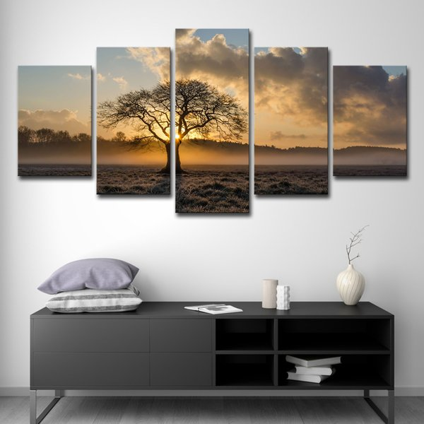 2019 Canvas Painting Vintage Wall Art Frame Printed 5 Panel Poster Sunrise Tree Landscape For Living Room Decor PENGDA From