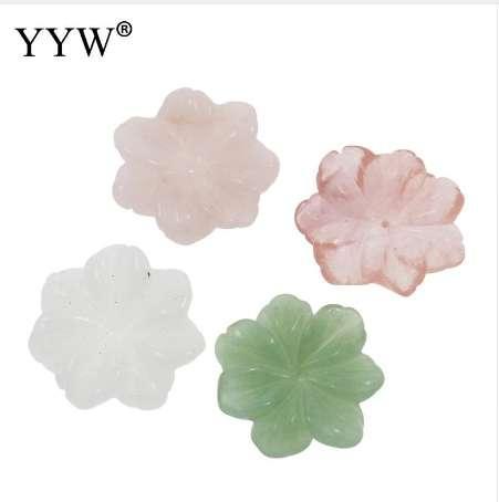 YYW DIY Schmuck natürliche echte grüne Aventurin Rose Stein Perlen handgemachte geschnitzte Blume geformte Kirsche Quarz Porzellan Stein Perlen