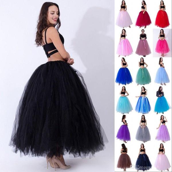 Alta Qualidade 3 Camadas 100 cm de Verão Longo Tule Saia de Moda Plissada TUTU Saias Das Mulheres Lolita Anágua Damas De Honra Vestido CPA836