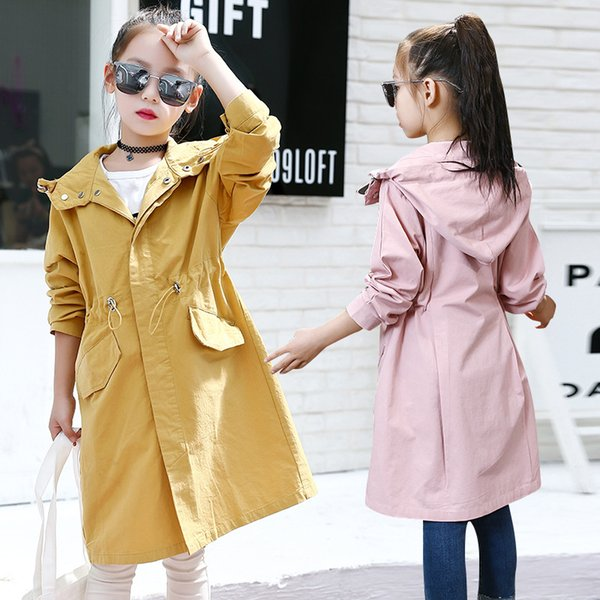 2018 Autumn Trench Coat For Girls Clothes Children Clothing Cotton Hooded Long Jacket Kids Clothes Windbreaker Girls 4-16Y