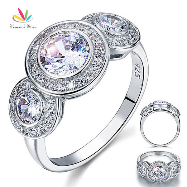 Peacock Star Art Deco 2.5 Carat Solid 925 Sterling Silver Wedding Engagement Ring Jewelry CFR8089 S18101607