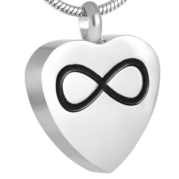 IJD8721 Infinity Love In My Heart Cremación Colgante Collar Hold Human / Pet Ashes Holder Keepsake Memorial Urn Collar para Mujeres y Hombres