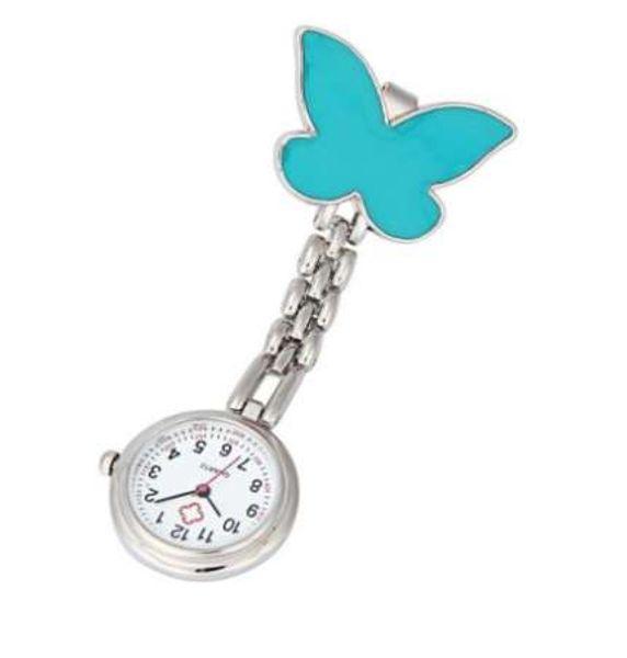 Clip-on Fob Broche Pendentif Montre Suspendue Femmes Papillon Design Unisexe Montres Mode Docteur Infirmière Montre De Poche Horloge chaude Vente