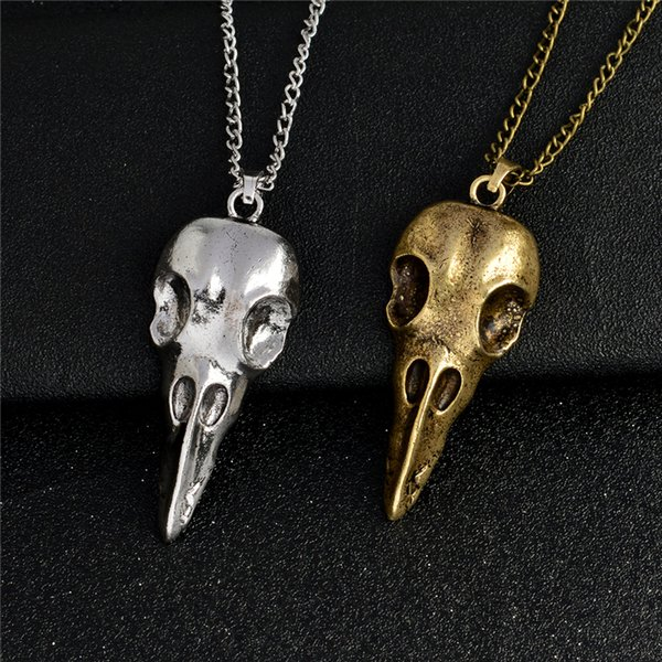 Pendant necklace Raven skull Bird skull pendant necklace bronze ancient silver viking jewelry Necklace for men