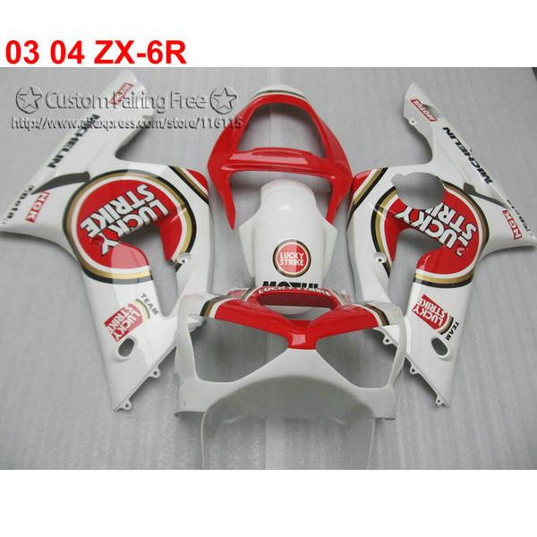 Red white fairings set for kawasaki Ninja ZX6R 636 03 04 aftermarket ZX-6R 2003 2004 fairing kit NA28
