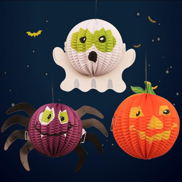 3 Pçs / lote Novo Halloween Decoração Aranha Morcego Fantasma Dobrável Lanterna De Papel Mall Bar Do Hotel Arranjo De Suspensão