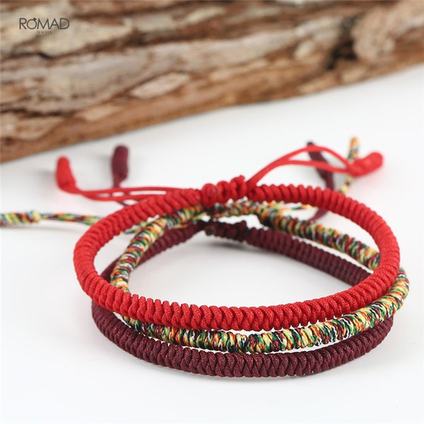 afd2600414 Original Multi Color Tibetan Buddhist Handmade Knots Lucky Rope Bracelet  Size Adjustable Nylon Thread Red Rope
