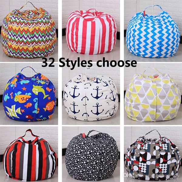45CM Kids Storage Bean Bags Plush Toys Beanbag Chair Bedroom Stuffed Animal Room Mats Portable Clothes Storage Bag 32 Designs TY7-79