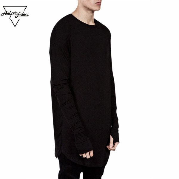Wholesale-Wholesale Thumb Hole Long Full Sleeve Hipster Tee kpop for Men T-Shirt Solid Hip Hop Street T Shirt Black Hold Hand Mens Tshirts