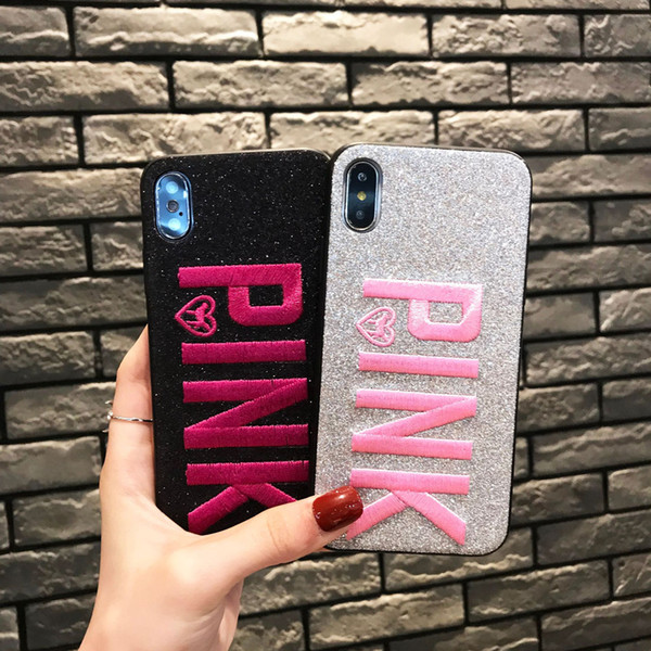 Glitter PINK Phone Case For Samsung S10 S9 S8 Plus Soft TPU Shining 3D Embroidery Back Cover For iPhone XR XS Max X