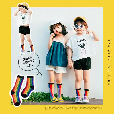 INS Hot Summer Rainbow Color Vertical Striped Socks Kids Boys Girls Cotton Mid Length and Short Childrens Designers Sock Breathable 1-8T
