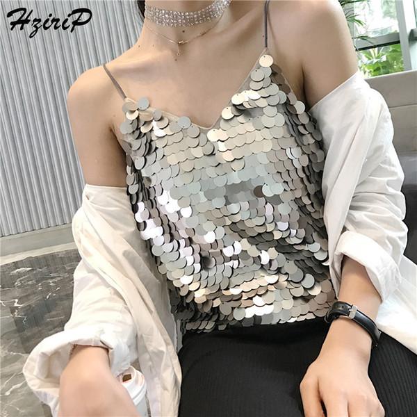 HziriP Tank Tops 2018 Summer Soft Slim Casual Women's Sequined Camisole T-Shirt Vest Cotton Camis Women's Vest Cotton Top Tank