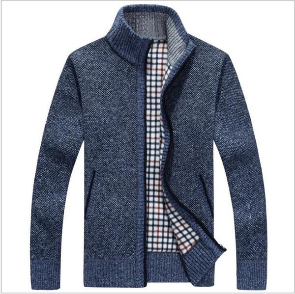 Autumn Winter Men Warm Cardigan Sweatercoat Casual Loose Stand Neck Wool Sweaters Coat Man Zipper Thick Knittwear Plus Size