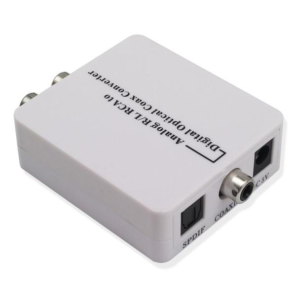 Yeni varış Analog R / L RCA dijital optik koaksiyel Dönüştürücü A2D Optik Koaksiyel RCA Toslink Sinyal Ses Dönüştürücü Adaptör