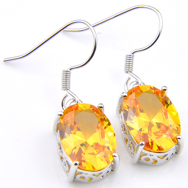Luckyshine 5 pair/Lot New Holiday Gift Jewelry Gold Yellow Citrine Gems 925 Silver Russia USA Australia Earrings Drop Earrings Free Ship