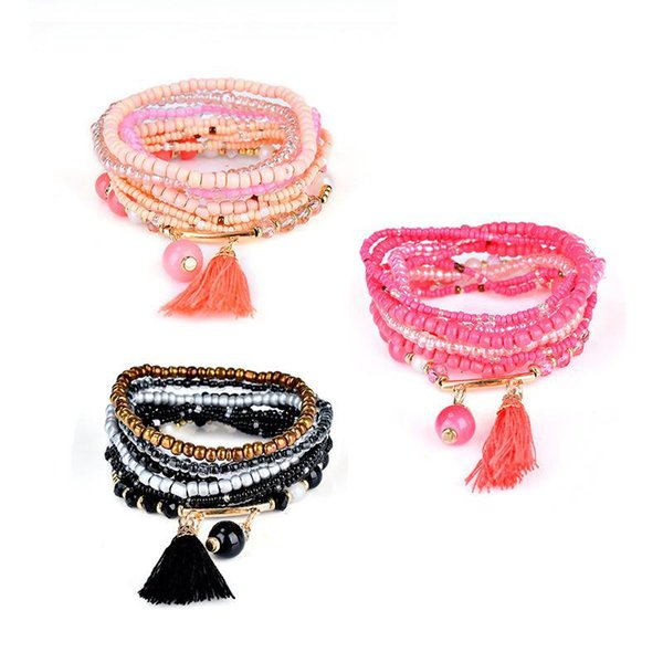 Fashion Bohemian Ocean Wind Double Bracelet Crystal Stretch Bead Multilayer Bracelet Pendant Charm Stretch Beach Bangle For Women Gift
