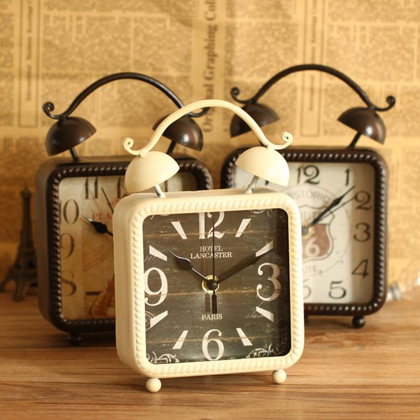British style retro fashion iron art desk clock square table clock home decoration