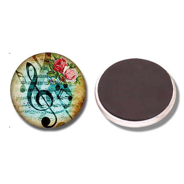 Музыка ключ и цветы 30 мм Магнит на холодильник музыка ключ стекло кабошон магнитный холодильник наклейки Примечание держатель украшения дома