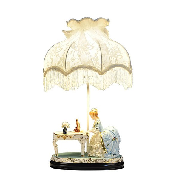 European Ceramics Living Room Table Lights Lady playing the piano Study Room fabric lampshade bedroom bedsides Desk Light