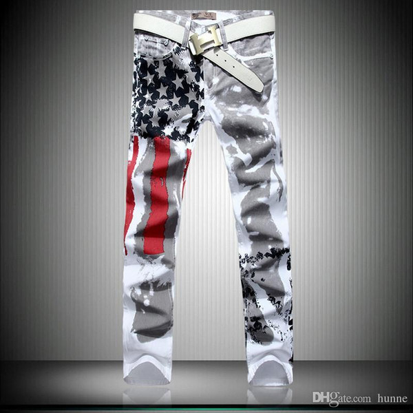 Wholesale-2016 fashion mens american flag jeans skinny mens jean high quality America men jeans slim fit male denim pantalon homme