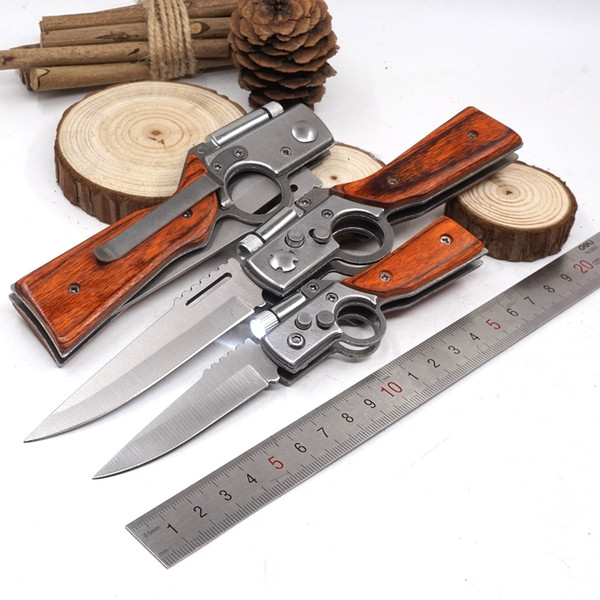 AK47 Couteau De Poche Pliant Couteau Camping À L'extérieur EDC Outils Tactique Couteaux De Survie Avec LED Lumière Manche En Bois