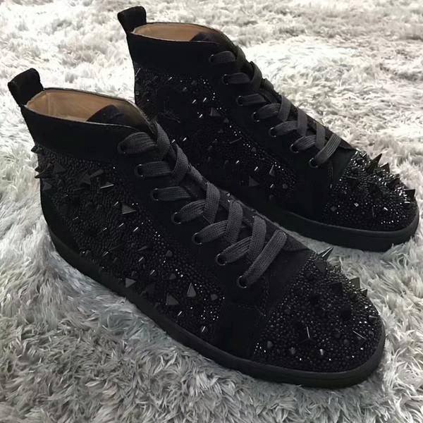 2018 nuove donne mens di pelle scamosciata nera chiodo picchi scarpe rosse inferiori alte scarpe da ginnastica alte, causali scarpe sportive piatte 36-46 trasporto di goccia