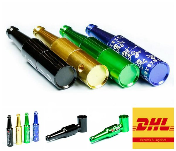 83mm Aluminum Alloy Smoking Hand Pipes Beer Bottle Style Metal Tobacco Smoking Pipe For Bongs Water Pipes Free DHL 9003