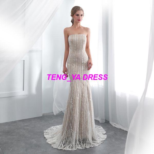 2018 Strapless Mermaid Style Lace Beaded Customized Made Wedding Dress E002