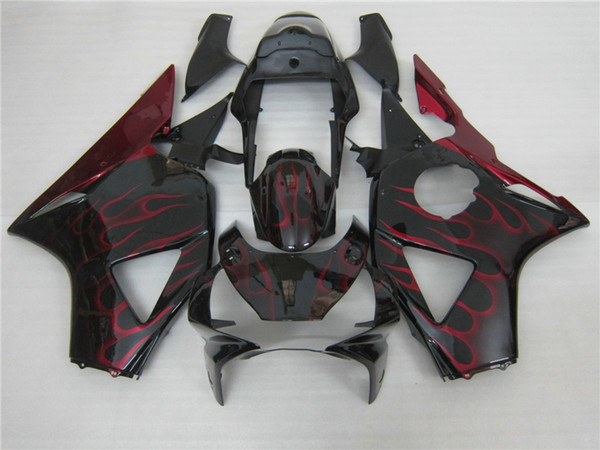 Hot sale fairings set for Honda CBR900RR 2002 2003 CBR954 red flames in black fairing kit 02 03 CBR954RR CBR 954RR GW38