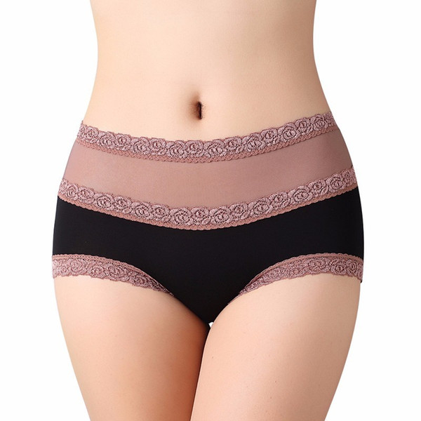2017 Women's Panties High Waist Beautiful Hip Lift Sexy Hollow Out Modal Sexy Briefs Lace Underpants Solid Color Underwear