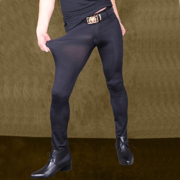Sexy Männer Transparente Hosen Silk Durchsichtig Elastische Engen Hosen Seidige Bleistifthosen Erotische Dessous Club Homosexuell Tragen F90