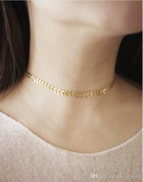 Mode sexy poisson os choker or ou couleur argent plaqué avec chaîne en métal pour femme collier femme cadeau