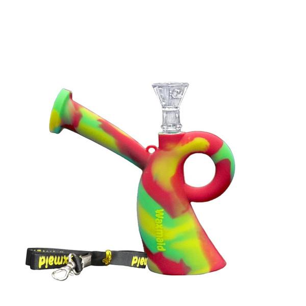 bong en verre Waxmaid silicone dab mini-plates-formes tuyau d'eau de fumer avec un cordon et un bol en verre par DHL Livraison gratuite
