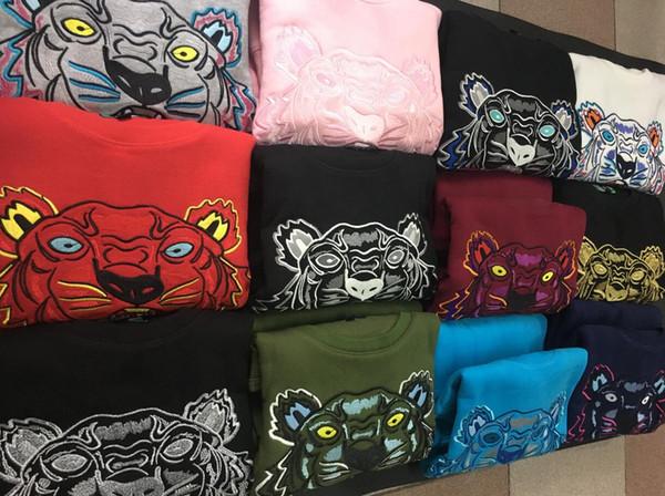 Livraison gratuite broderie tête de tigre chandail homme femme de haute qualité à manches longues O-cou pull Hoodies Sweat-shirts veste