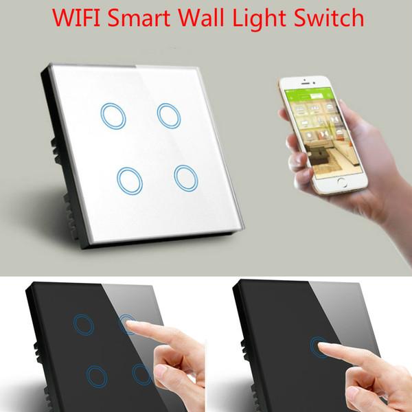 WiFi Wireless APP Control Wall LED Light Switch Touch Panel Socket Light Dimmer Smart Automation Module DIY UK EU Standard Style
