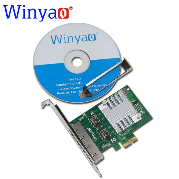 Winyao E350T4 PCI-E X1 Quad Port adaptador de servidor de placa de rede Gigabit Ethernet 10/100 / 1000Mbps LAN I350-T4 NIC