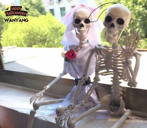 40cm Scary Halloween Skeleton Plastic Human Bones Skull Figurine Party Decor Hot